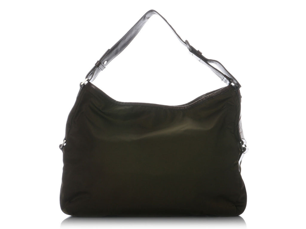 Prada Large Olive Nylon Shoulder Bag