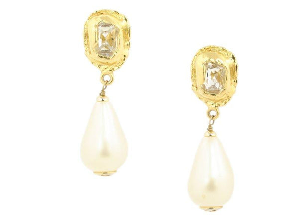 Chanel Teardrop Pearl Earrings