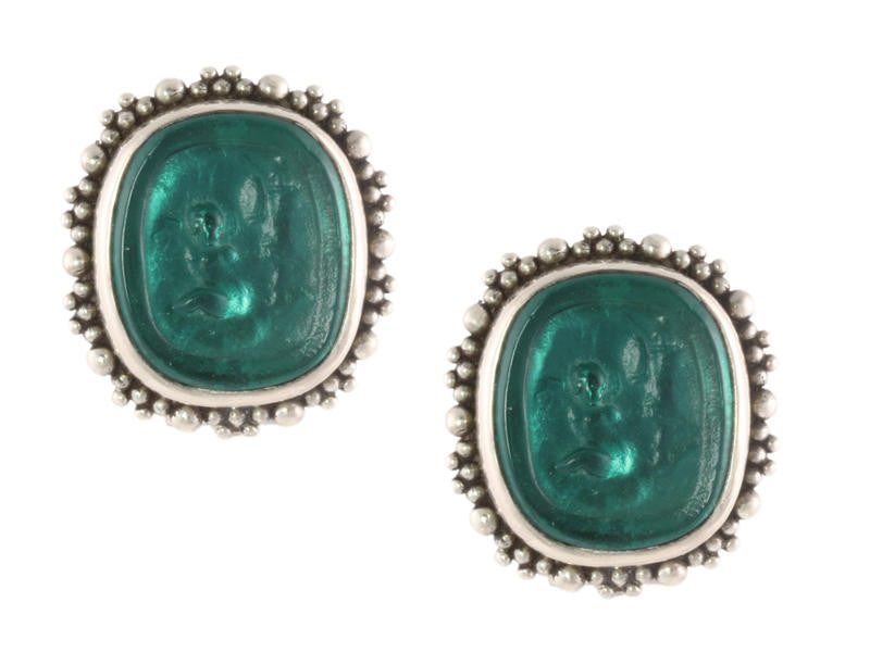 Stephen Dweck Green Cameo Earrings
