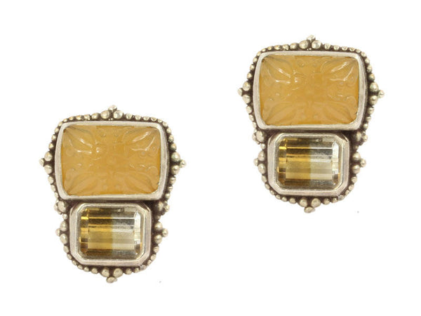 Stephen Dweck Sterling and Stone Clip Earrings