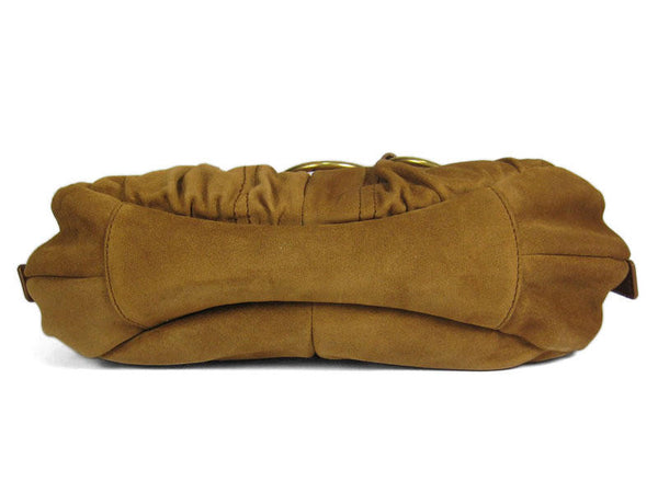 YSL Small Brown Suede Ring Hobo