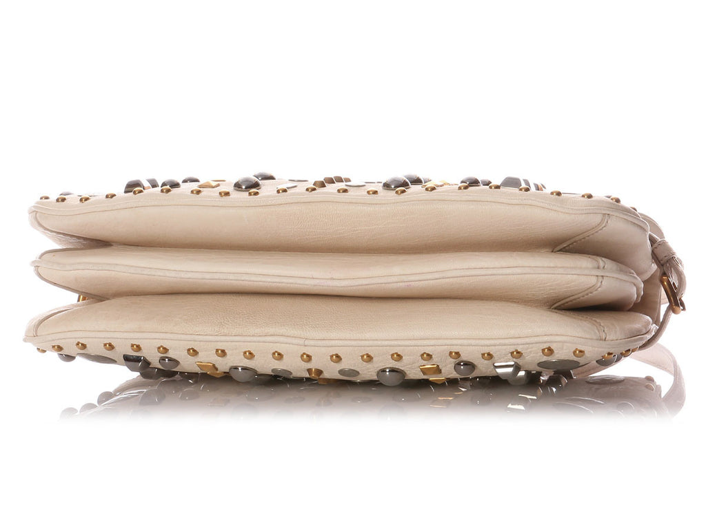 Miu Miu Studded Cream Shoulder Bag
