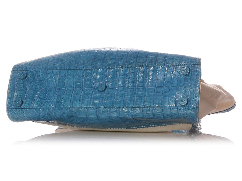 Nancy Gonzalez Blue Crocodile and Canvas Tote