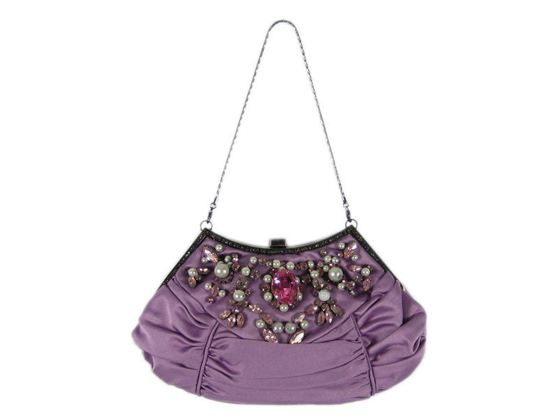Badgley Mischka Lavender Satin Evening Bag