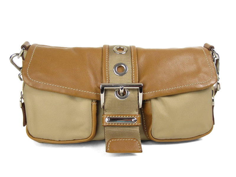 d0df1a3b9bb3 Prada Small Tan Nylon and Leather Bag - Ann s Fabulous Closeouts