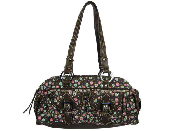 Isabella Fiore Brown Flower Corduroy Bag