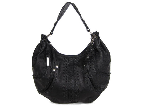 Isabella Fiore Large Black Leather Bag