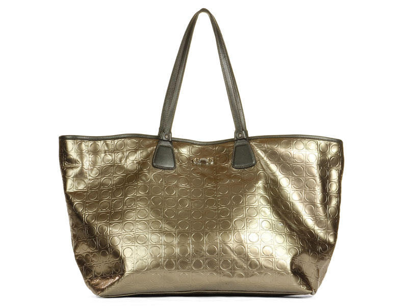Ferragamo Bronze Embossed Vinyl Bag
