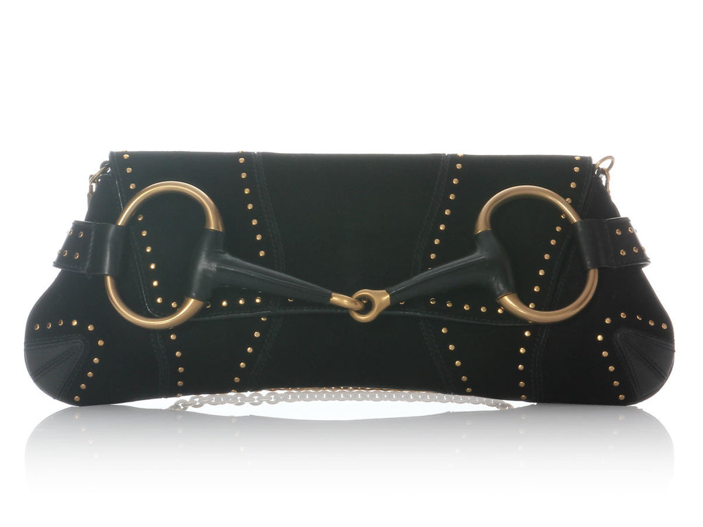 Gucci Black Studded Horse Bit Clutch