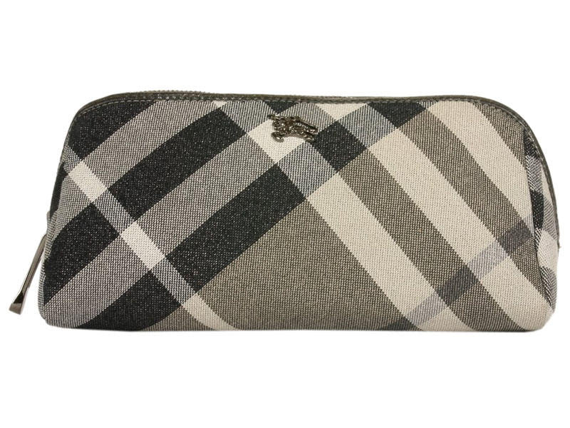 Burberry Black Metallic Check Make-Up Bag