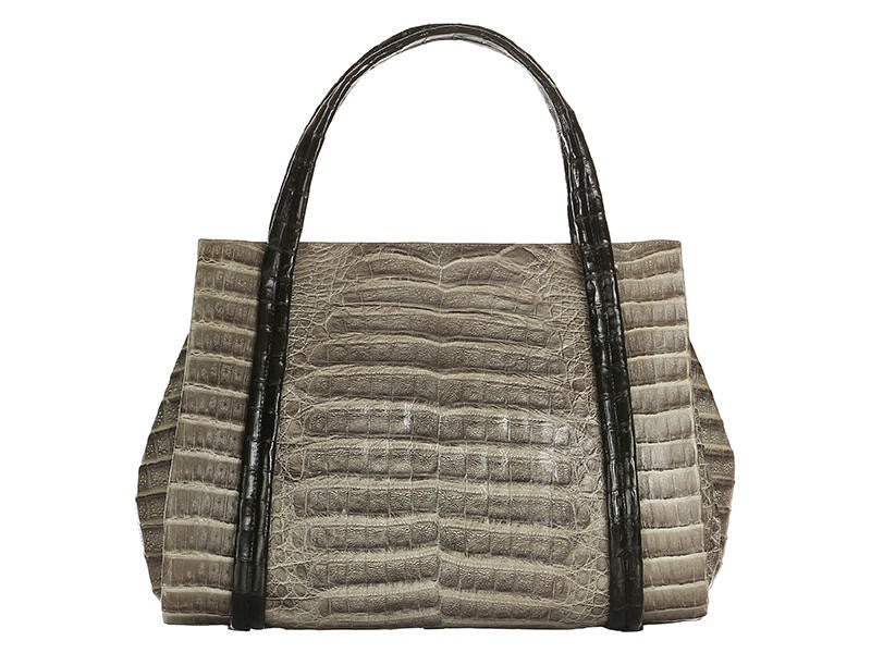 Nancy Gonzalez Gray Alligator Top Handle Tote