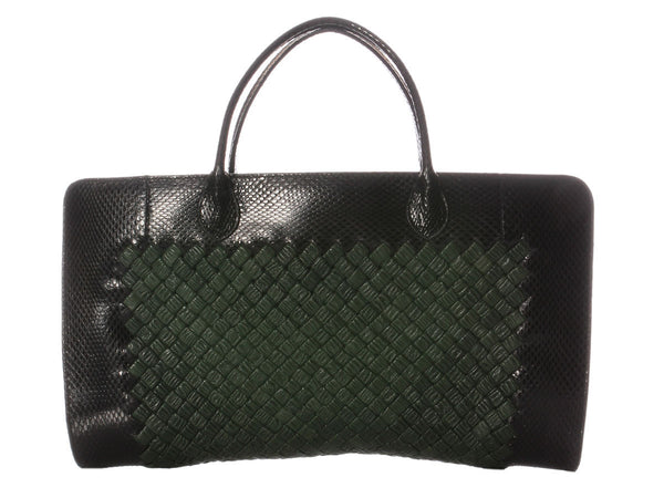 Bottega Veneta Black Snake and Green Leather Bag
