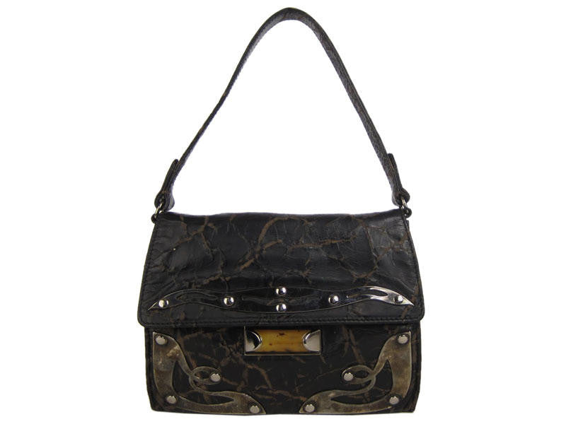 Miu Miu Distressed Black Leather Evening Bag