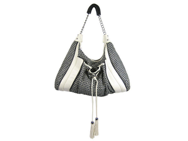 Zac Posen Black and White Woven Hobo