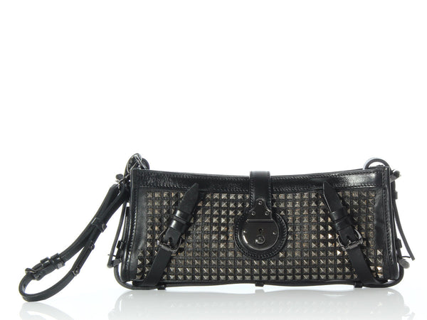 Burberry Studded Black Leather Clutch