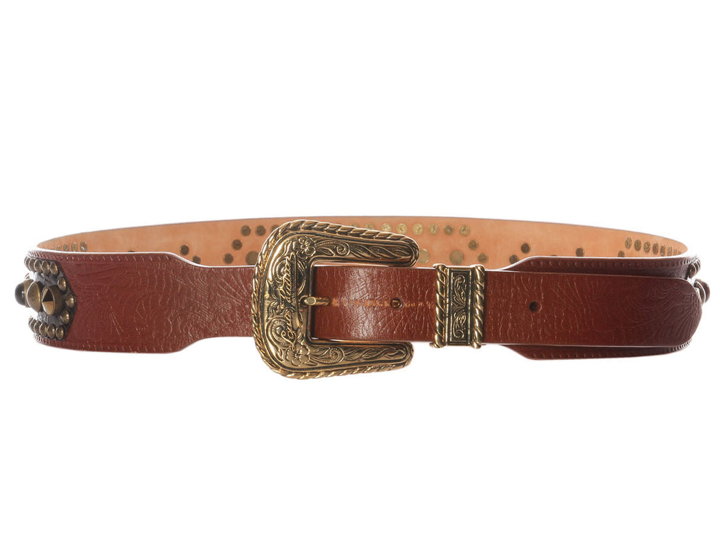 Louis Vuitton Tooled Leather and Cabochons Belt