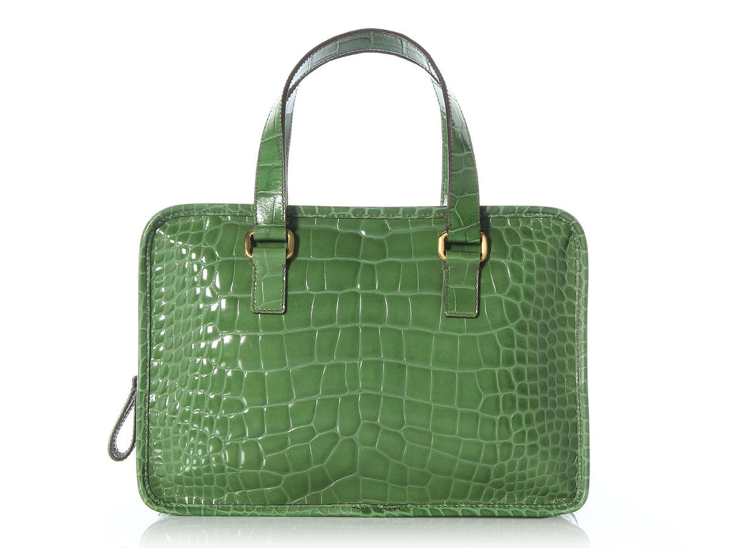 Prada Green Embossed Lucido