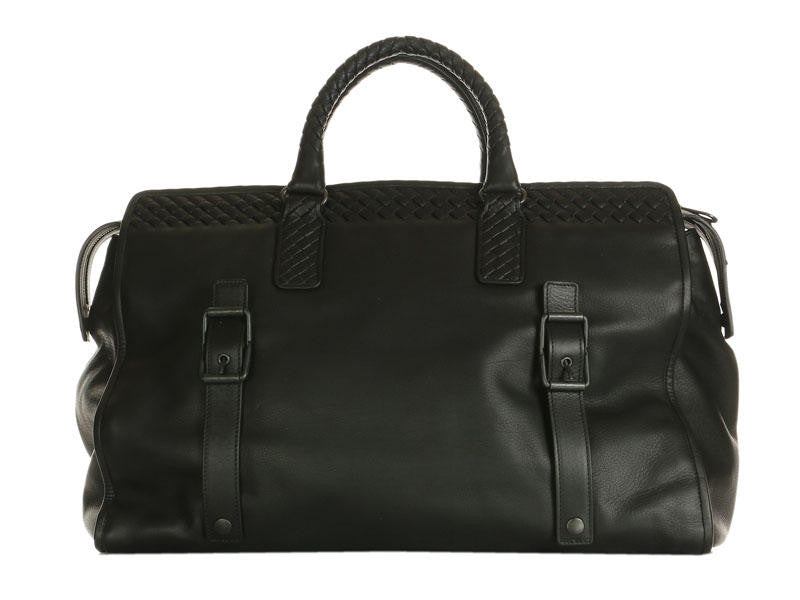 Bottega Veneta Black Leather Travel Bag