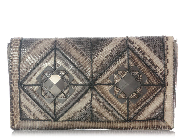 Ferragamo Large Natural Snake Clutch