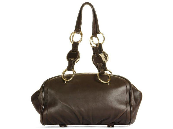 YSL Small Brown Ring Handle Bag