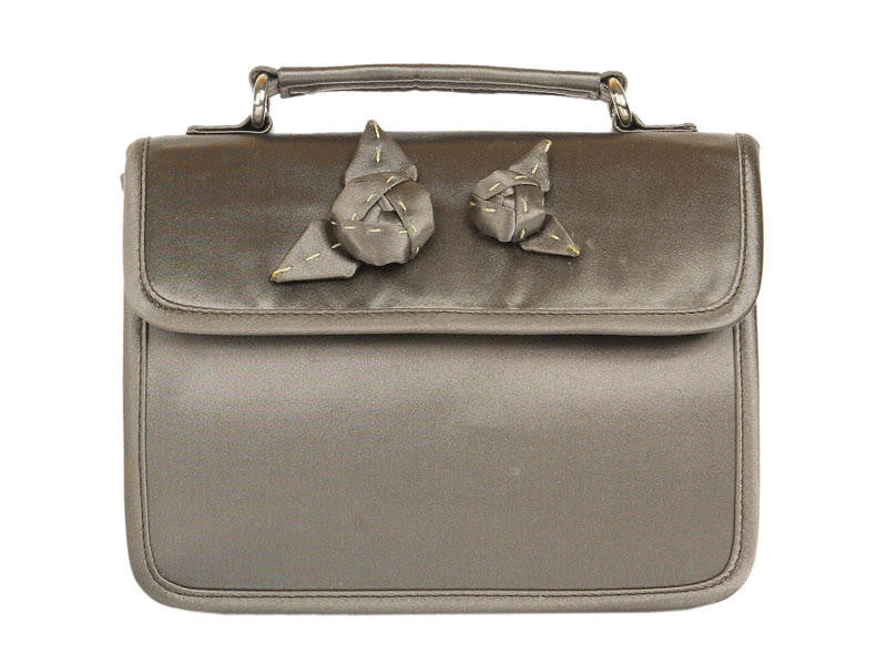 Prada Gray Satin Evening Bag