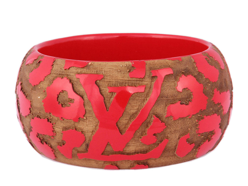 Louis Vuitton Wide Red Leopard Bangle