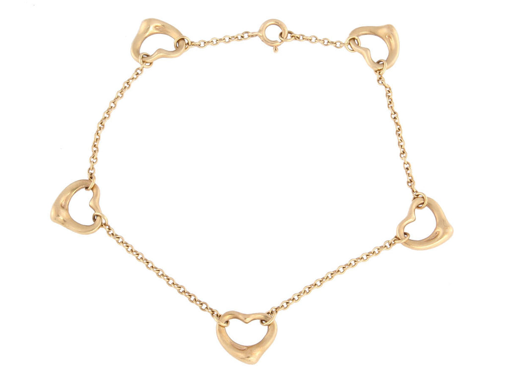 Tiffany & Co 18K Yellow Gold Open Heart Bracelet