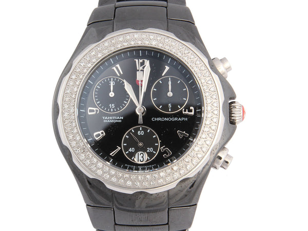 Michele Black Ceramic Diamond Tahitian Watch