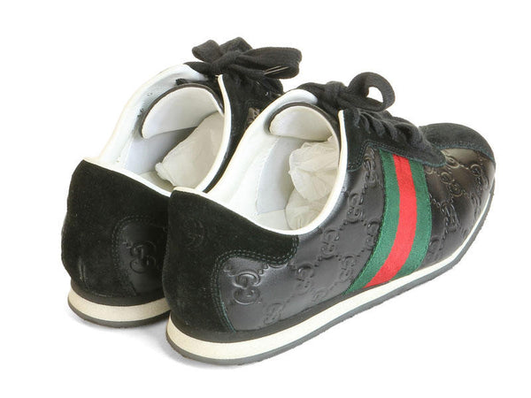Gucci Black Leather Logo Sneakers