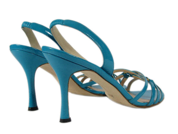 Manolo Blahnik Turquoise Patent Leather Sandals