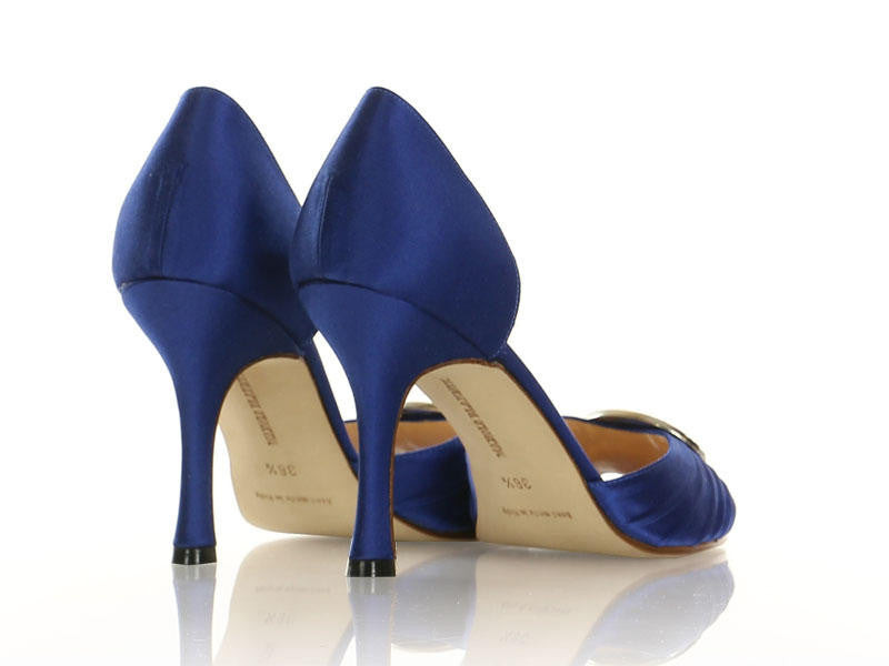 Manolo Blahnik Blue Satin Sedarady d'Orsay Pumps