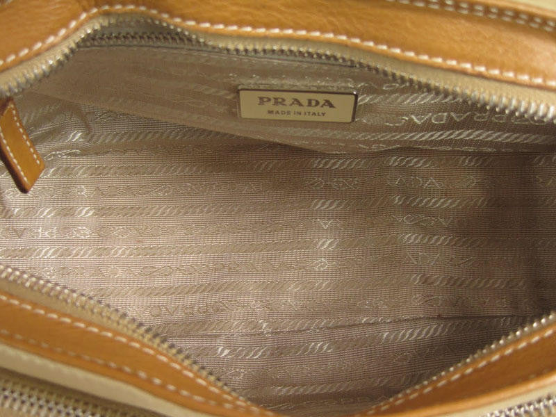 Prada Small Tan Nylon and Leather Bag