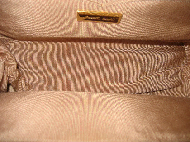 Judith Leiber Taupe Karung Clutch