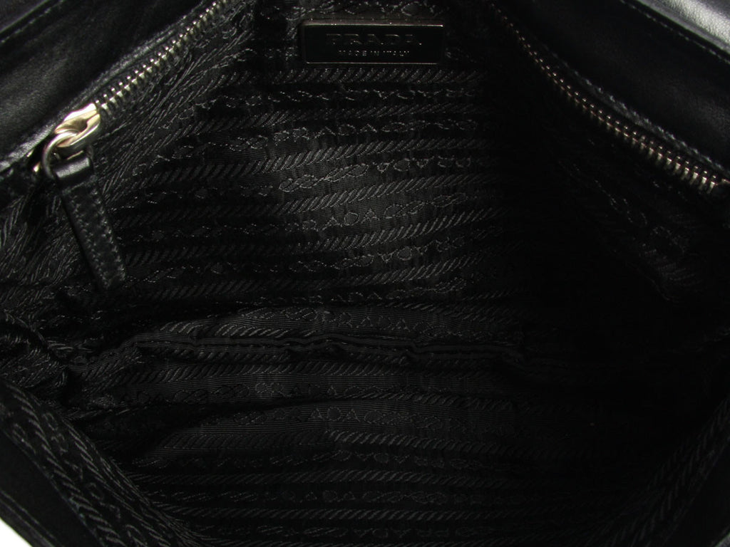 Prada Black Nylon and Leather Shoulder Bag