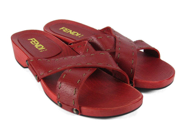 Fendi Red Selleria Slides