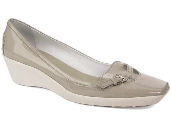 Tod's Gray Patent Wedges