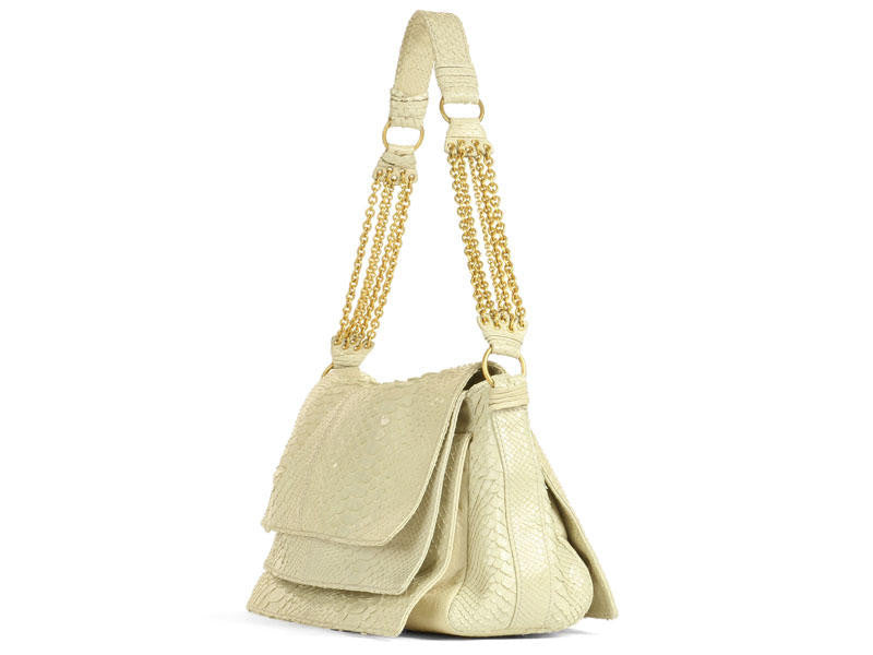 Bottega Veneta Cream Python Shoulder Bag