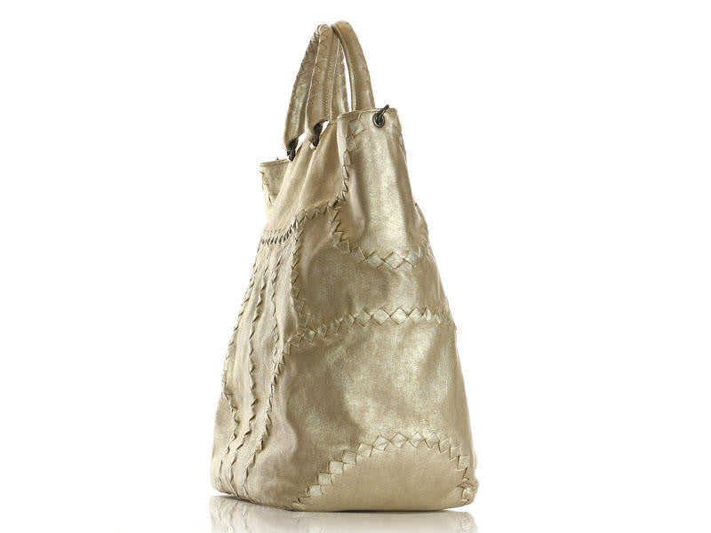 Bottega Veneta Light Metallic Gold Leather Hobo