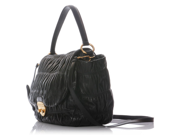 Prada Black Ruched Flap