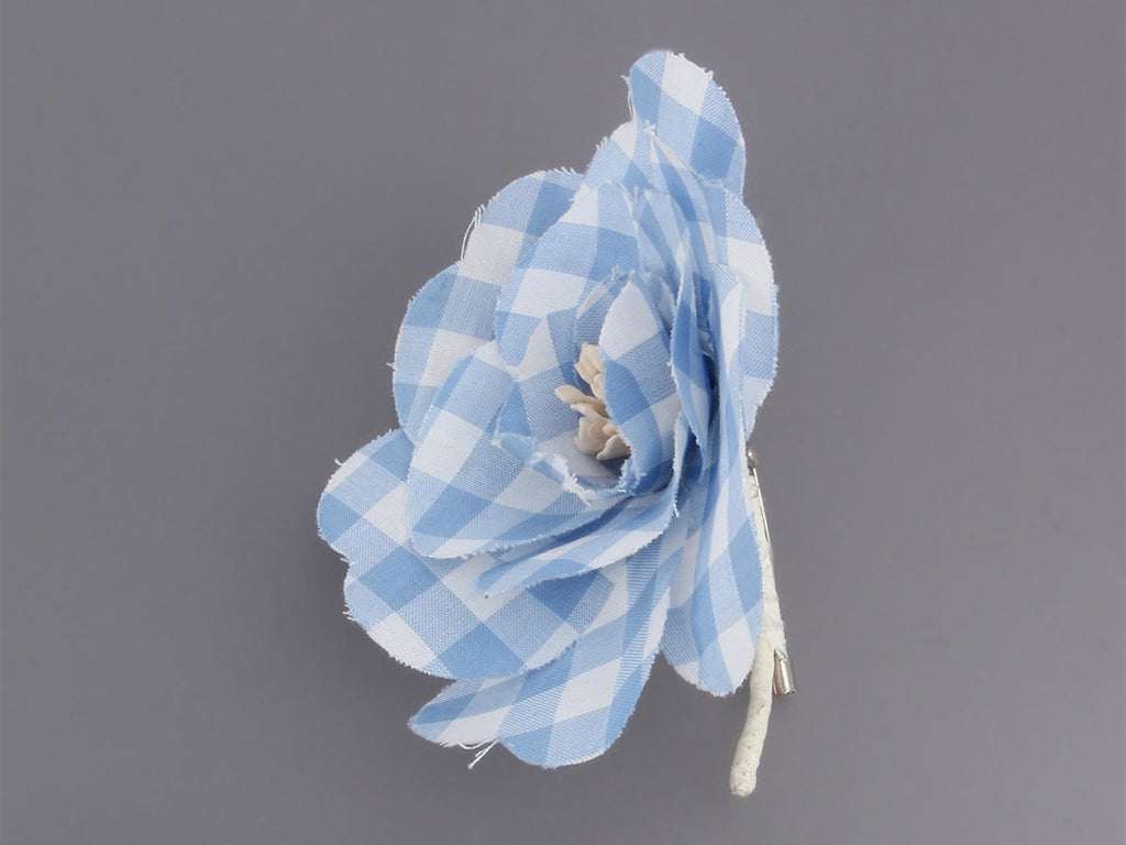Chanel Blue and White Gingham Camellia Pin