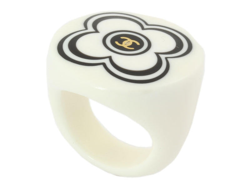 Chanel Cream and Black Flower Ring