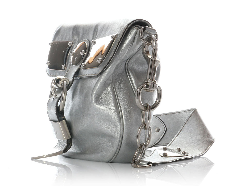Gucci Silver Metallic Indy Flap