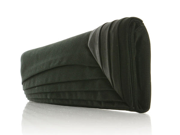 Christian Louboutin Pleated Black Satin Clutch