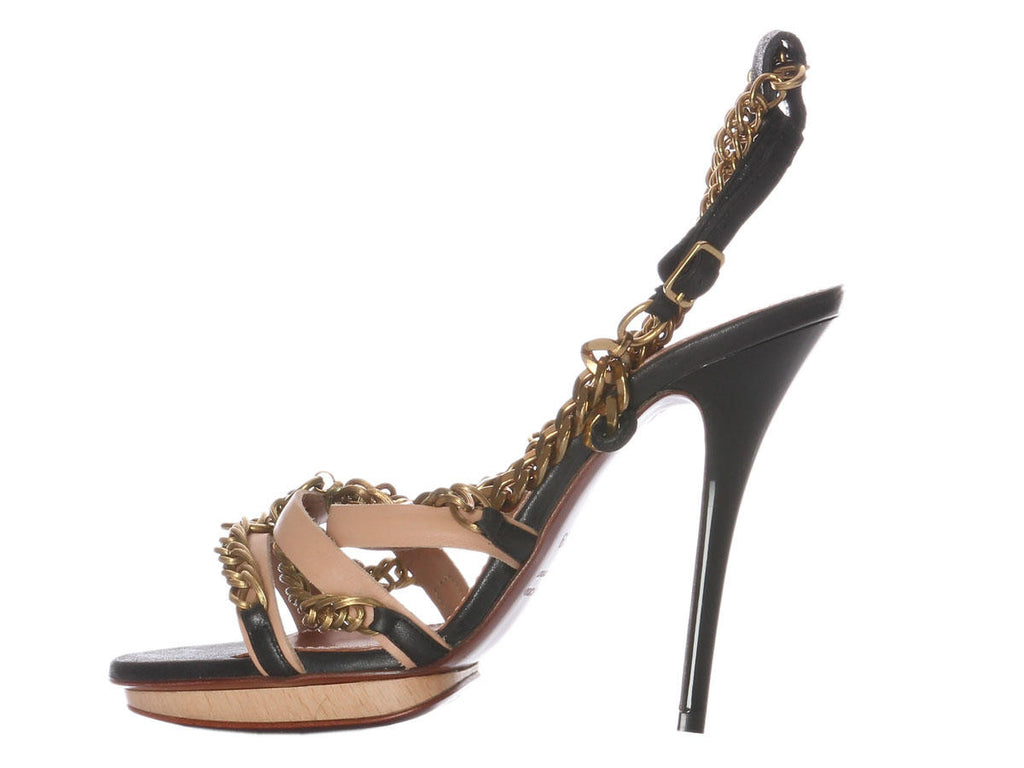 Lanvin Black and Nude Chain Sandals