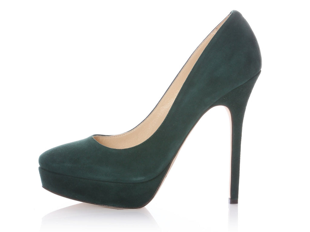 Jimmy Choo Green Suede Cosmic Platform Pumps