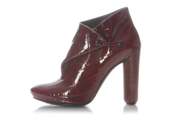 Louis Vuitton Croc-Embossed Red Patent Delft Cornelia Booties