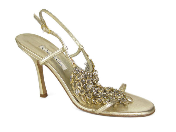 Oscar de la Renta Gold Crystal Sandals