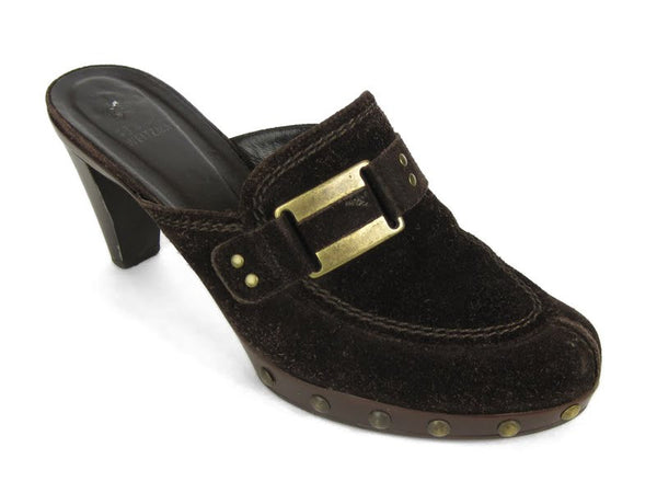 Stuart Weitzman Brown Suede Double Agent Slides