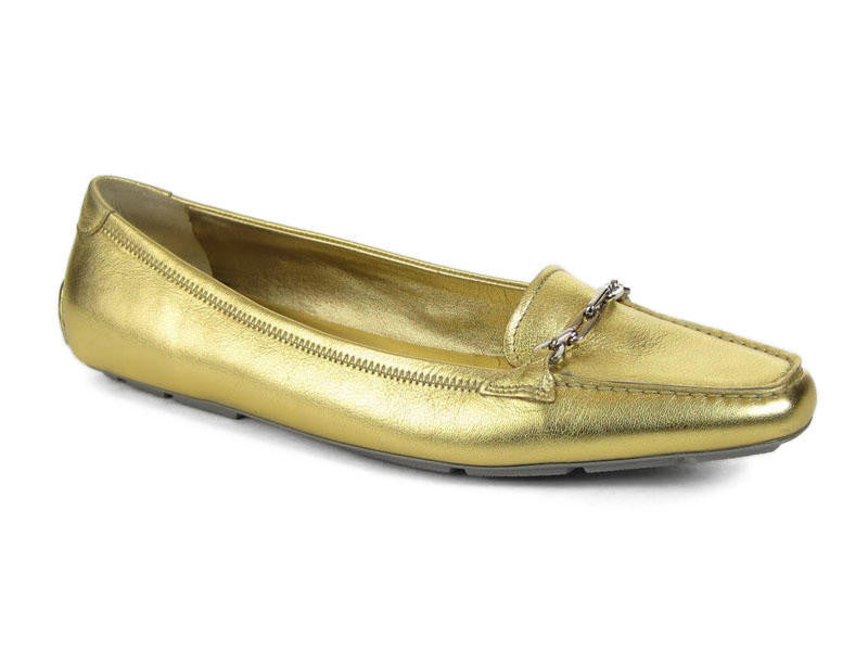 Prada Gold Leather Loafers