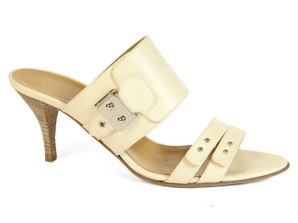 Hermès Cream Leather Sandals